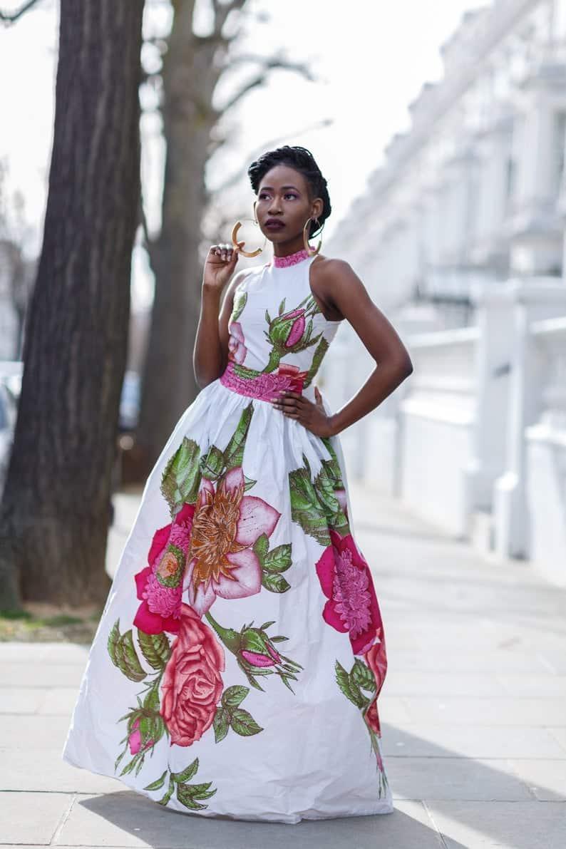 Flower pattern Ankara maxi dress style