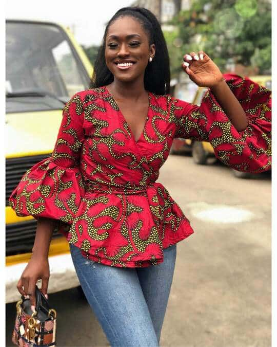 African print wrap top