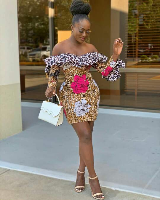 Linda osifo in short african print dress
