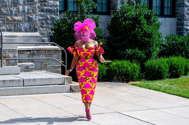 Sarleah Mah in african print dress