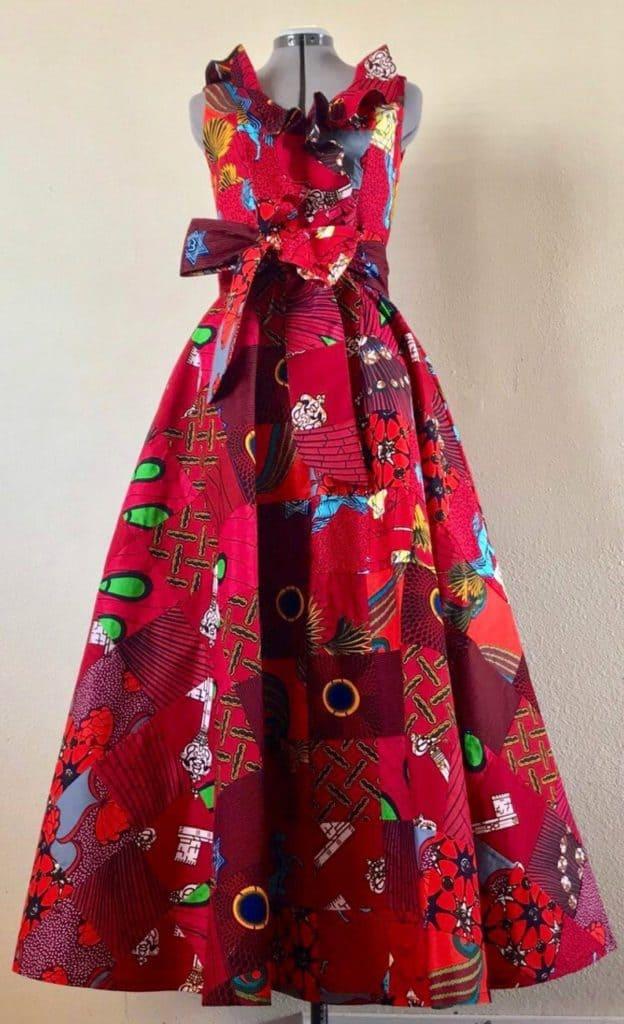 Ankara patchwork maxi dress style
