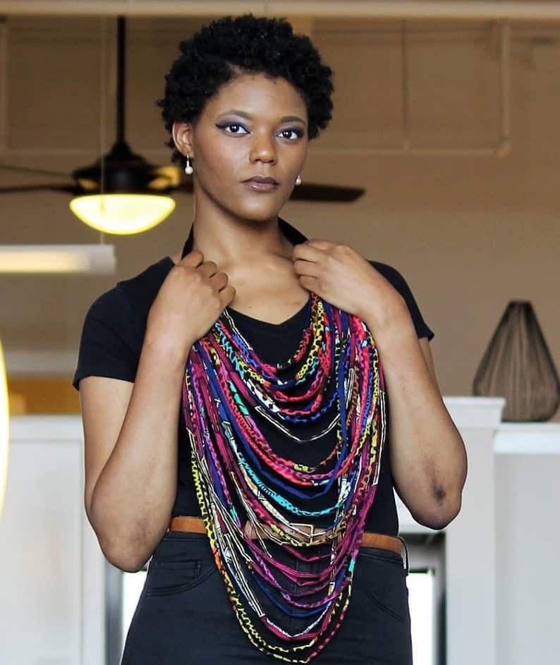 African print rope necklace